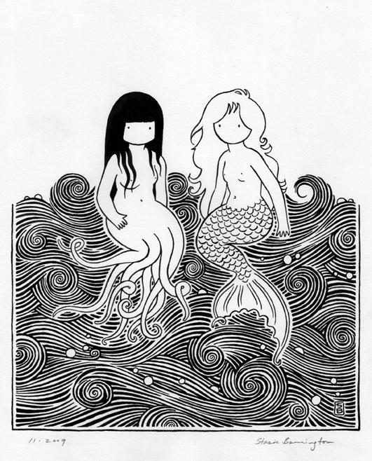 mermaids bw small