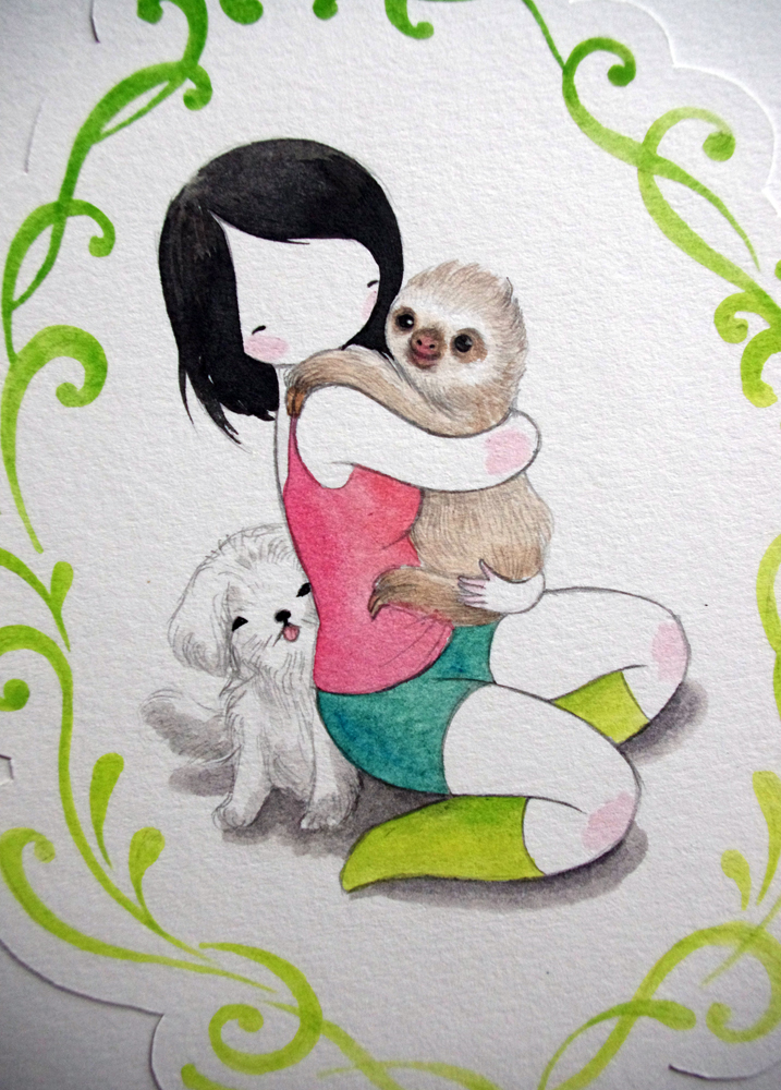It is a photo of Soft Sloth Drawing Cute